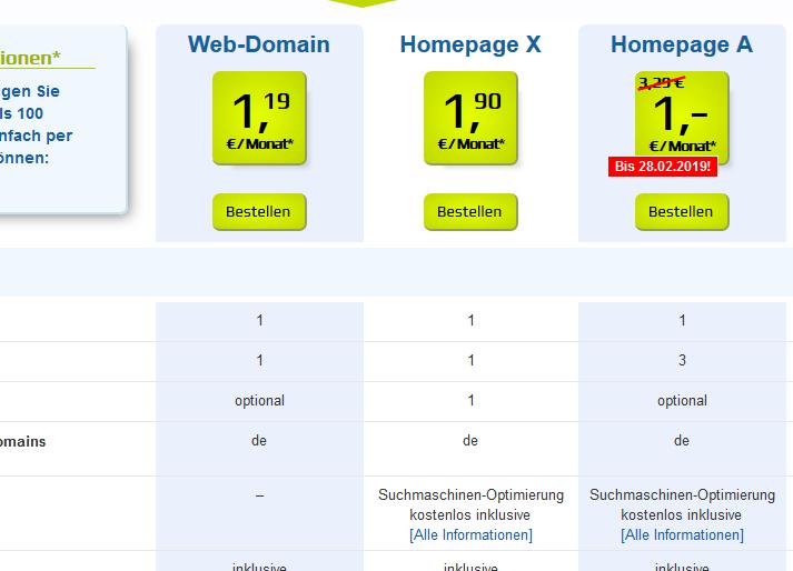 Auswahl Homepage Paket 1blu Nischenseite